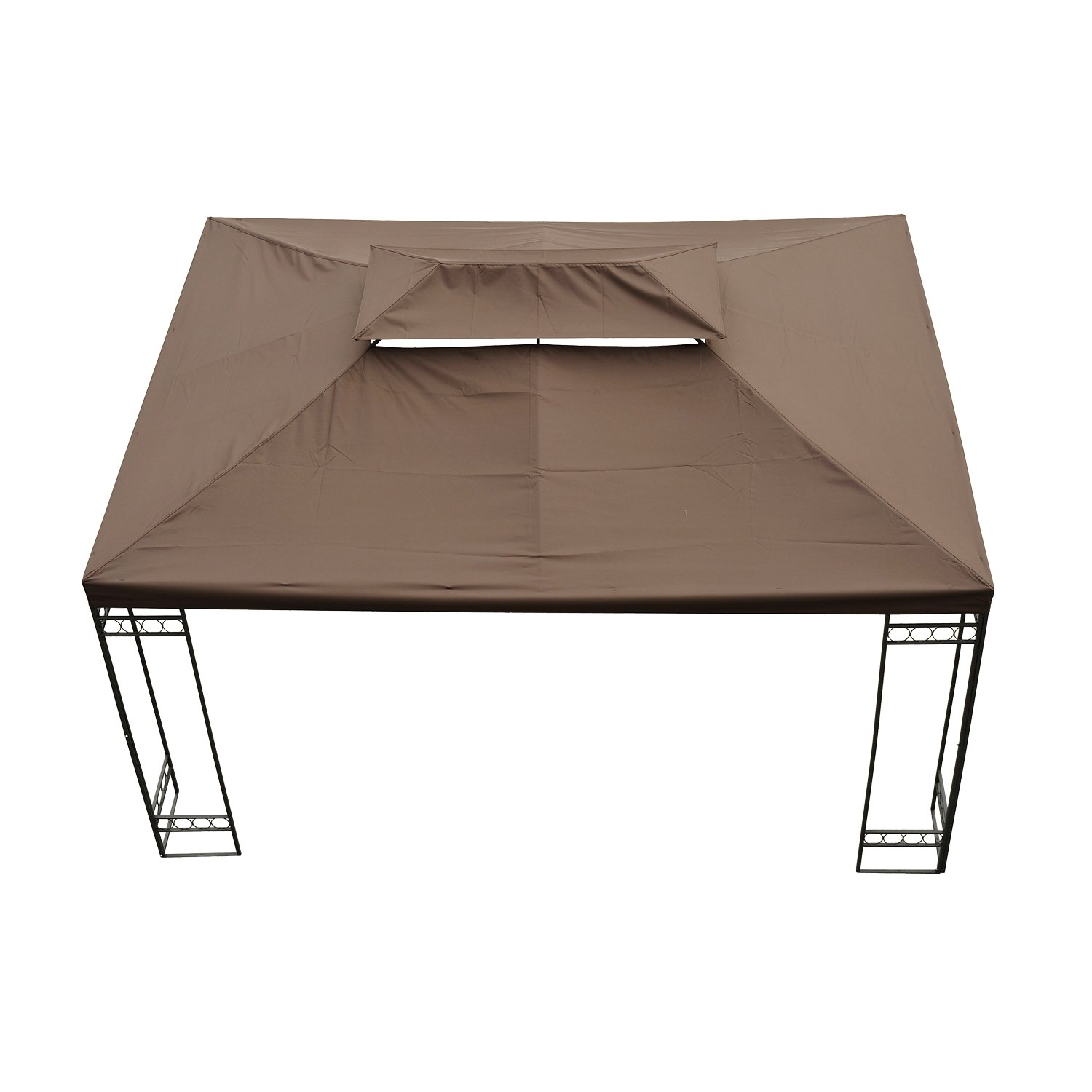 Outsunny 3 X 4m Gazebo Canopy Roof Top Replacement Pavilion Tent Spare Part 2 Tier Brown Amazoncouk Garden Outdoors