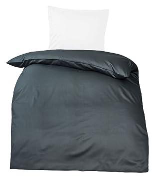 Moon Premium Uni Mako Satin Bettwäsche 100 Baumwolle Anthrazit