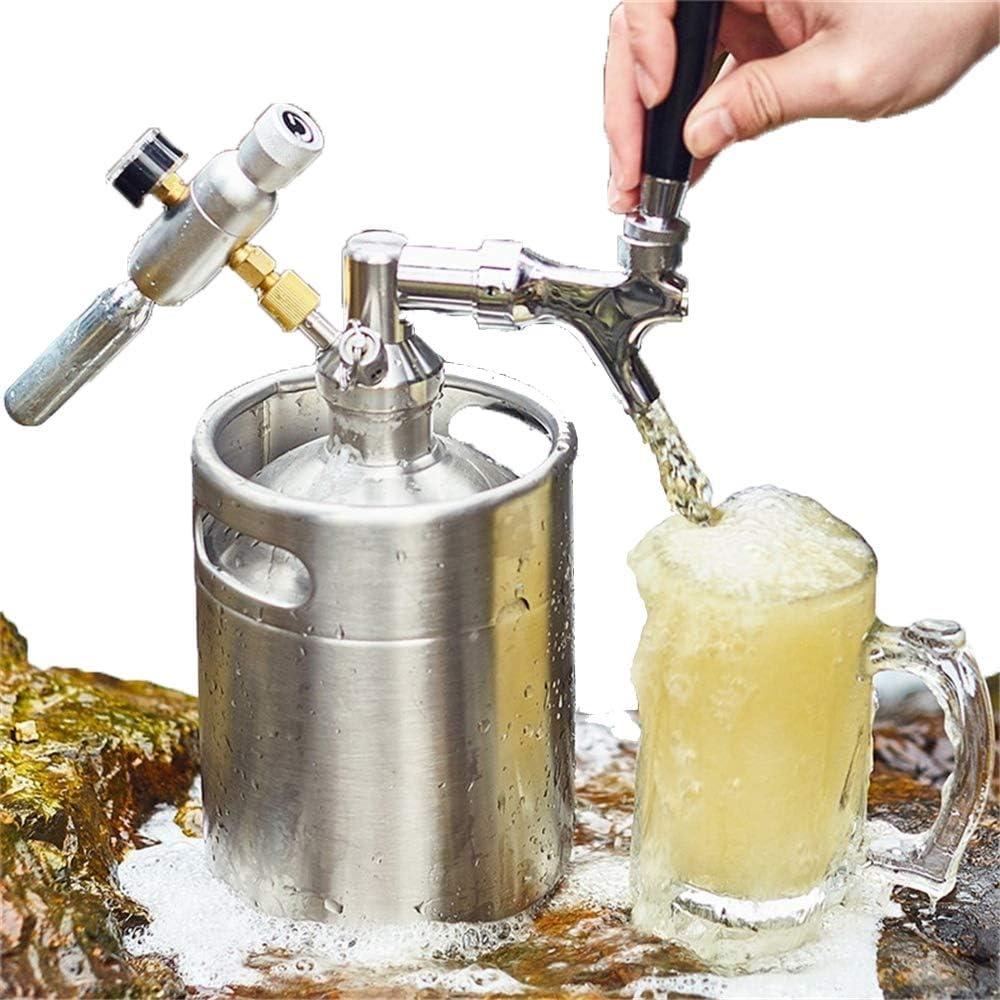 Bote de cerveza de 2 l con dispensador de grifo perfecto para cerveza de borracho, torpes de cerveza con grifo, mini barril de cerveza para cerveza casera en bar, discoteca con bomba