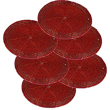 Set of 6 - Handmade Glass Beaded Coaster for Red - Home Furnishing Dining Set - Dia 4 Inches