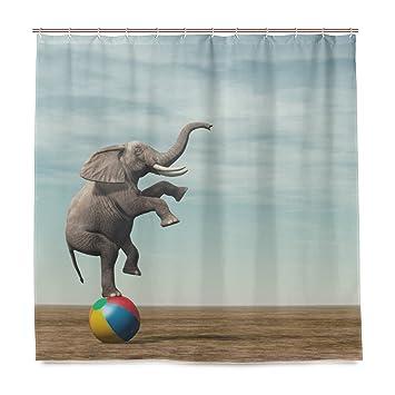 Amazon.com: Vantaso Shower Curtains 72x72 Elephant Balancing On ...