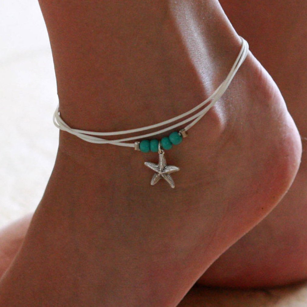 Boho Starfish Anklet Vintage Ankle Bracelet For Women Foot Jewelry Beads Beach