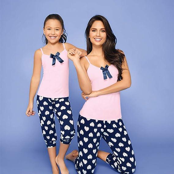 Provocame Mucho Pijama para niños y niñas Mommy and Me Playera de Manga Corta con Pantalones y Pantalones Cortos