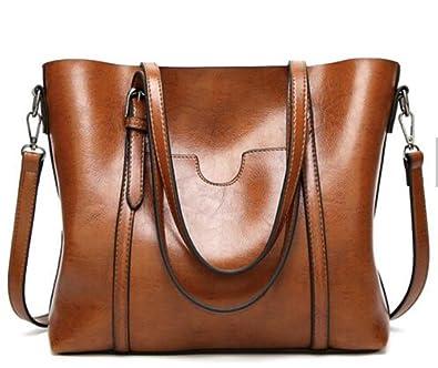 0a6ee6f22cb07 AnBeck Damen Handtasche Leder Umhängetasche Vintage Schultertasche Shopper  Taschen Henkeltasche (Braun)