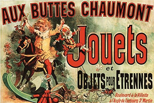 Ad Canvas Frame - Aux Buttes Chaumont Jouets Jules Cheret Art Print Huge Large Giant Poster Art 36x54 inch