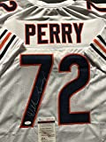 Autographed/Signed William Perry The Refrigerator Chicago Bears White Football Jersey JSA COA