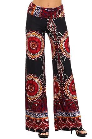 d40bc758c9b Sugar Rock Women Paisley Palazzo Pants Fold-Over Waist Wide Leg ...