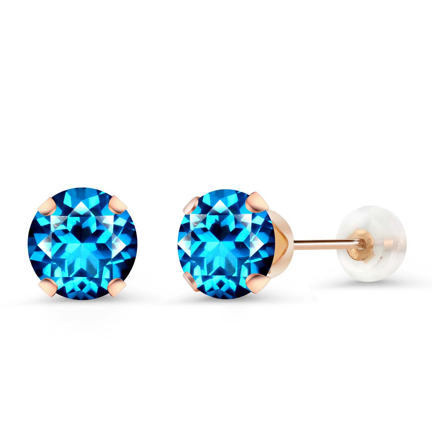 10K Rose Gold Stud Earrings Set with Round Kashmir Blue Topaz from Swarovski