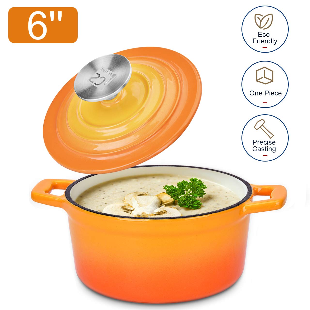 Dutch Oven Cast Iron Enamel Coating Cookware Casserole with Lid - 0.5-Quart (5.91 inches) , Sunset Orange Cocotte, Versatile Saucepan with Lid, Stew Pot by KOCH SYSTEME CS