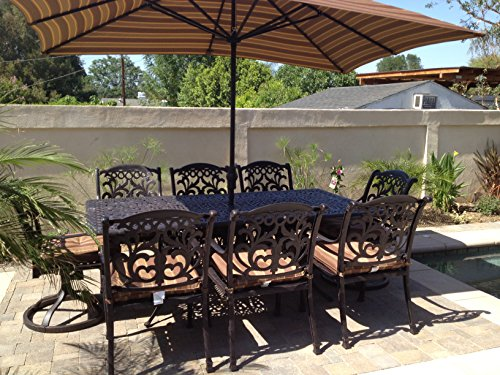 Heritage Outdoor Living Cast Aluminum Flamingo Outdoor Patio 11pc Dining Set with 44