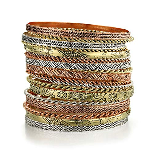 Ensoul Multi Color Flower Mixed Metal Aztec African Indian Vintage Bangle&Bracelets for Women Set of 19 (African Set Bracelet)