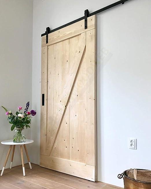 Puerta corredera de abeto sin tratar, 95 x 215 cm: Amazon.es ...