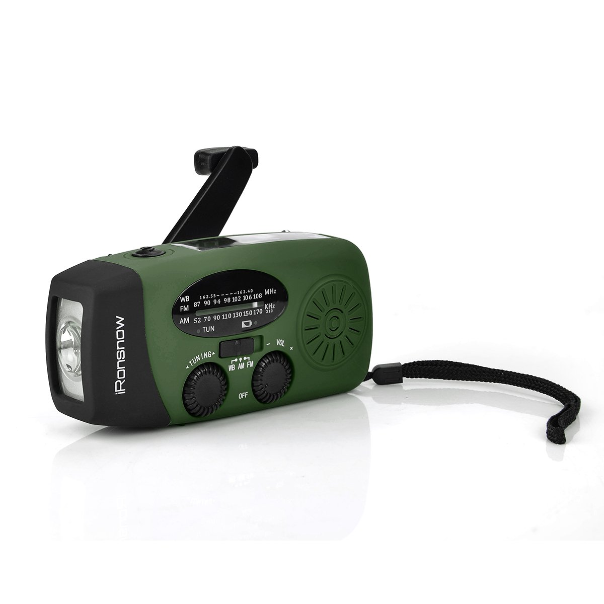 iRonsnow Solar Emergency NOAA Weather Radio Dynamo Hand Crank Self Powered AM FM WB Radios 1 LED Flashlight 1000mAh Smart Phone Charger Green Upgraded Version