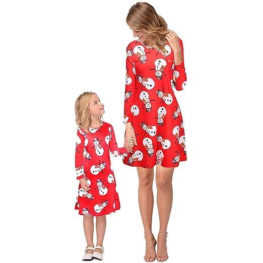 LUCKME Vestido de Madre e Hija de Navidad, Traje a Juego Familiar ...