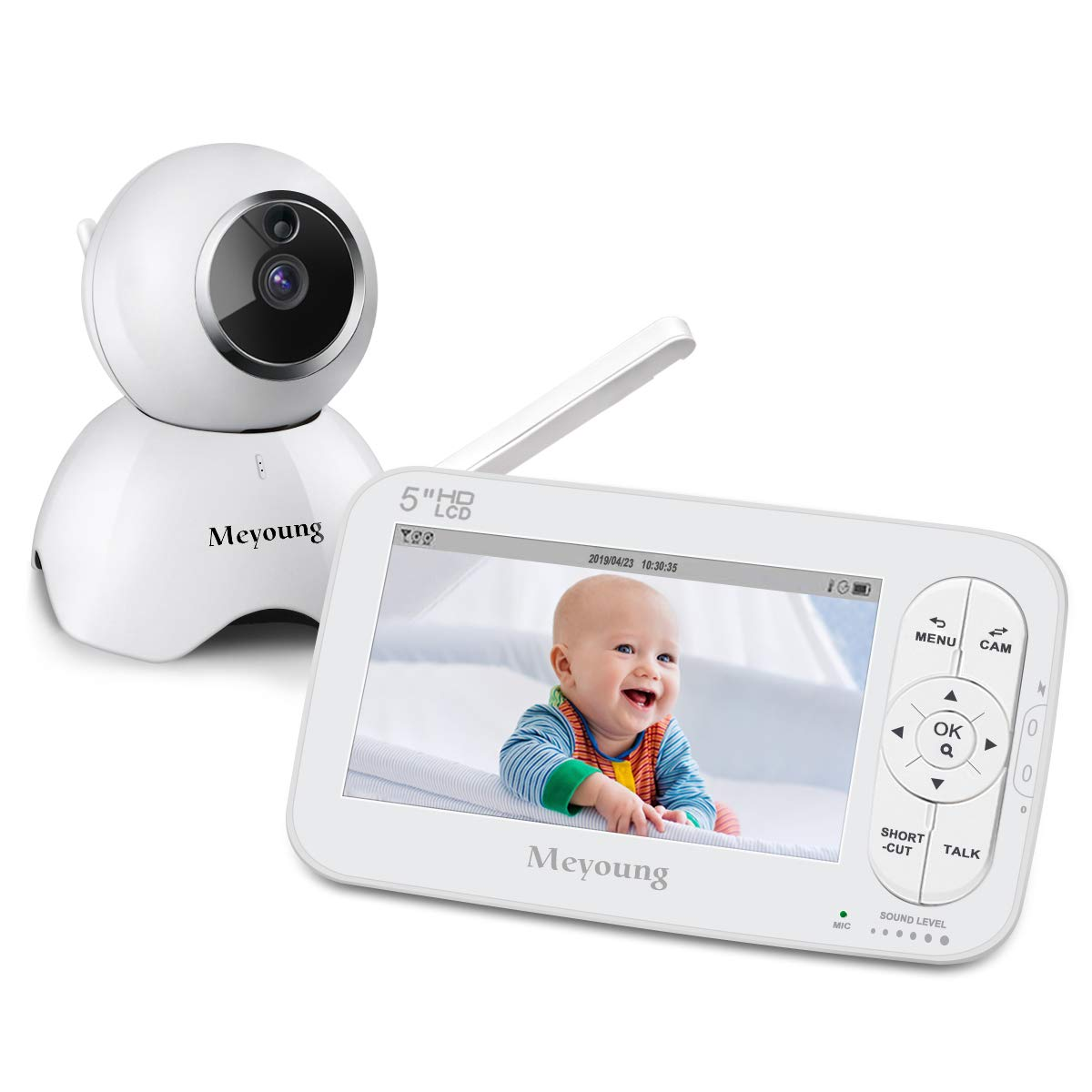 Baby Monitor - Meyoung 5 Inch 720P HD Video Baby Monitor with Camera and Audio, Night Vision, Two-Way Talk, Temperature Monitor, Sound Detection, Five Lullabies, Range Up to 900ftfor Baby Infant Kids