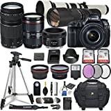 Canon EOS 5D Mark IV DSLR Camera w/ 7 Lens Bundle including EF 24-105mm f/4L IS II USM + 2.2x Telephoto & 0.43x Aux Wide Angle Lens + 2Pcs 32GB SD + Accessories with Premium Commander Kit (32 Items)