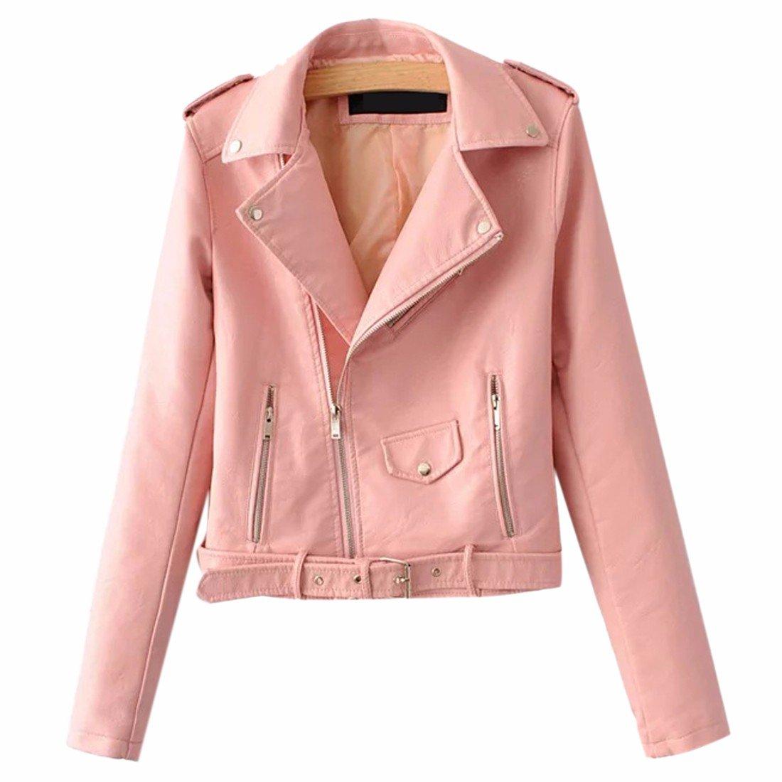QIYUN.Z Women Long Sleeve Suede Faux Leather Jacket Zipper Belt Moto Winter Coat E9062S0022H/1ONE