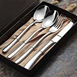 Windspeed Stainless Steel Steak Flatware Sets,Dinner Fork + Spoon + Knife Gift Sets - 4 pcs