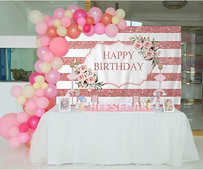 Allenjoy Pink Rose Happy Birthday Backdrop Gold White Stripes Women 20th 30th 40th 50th Bday Party Decoration Girls Sweet 16 Cake Table Banner Vinyl 7x5ft Photo Booth Background