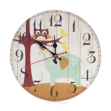 12 en Vintage rústico País estilo Toscano árabe números de madera reloj de pared redondo decorativo: Amazon.es: Hogar