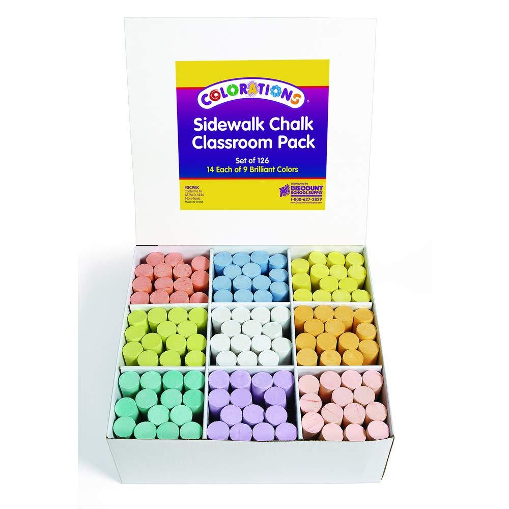 Colorations Sidewalk Chalk Classroom Pack - Set of 126 (Item # SCPAK)