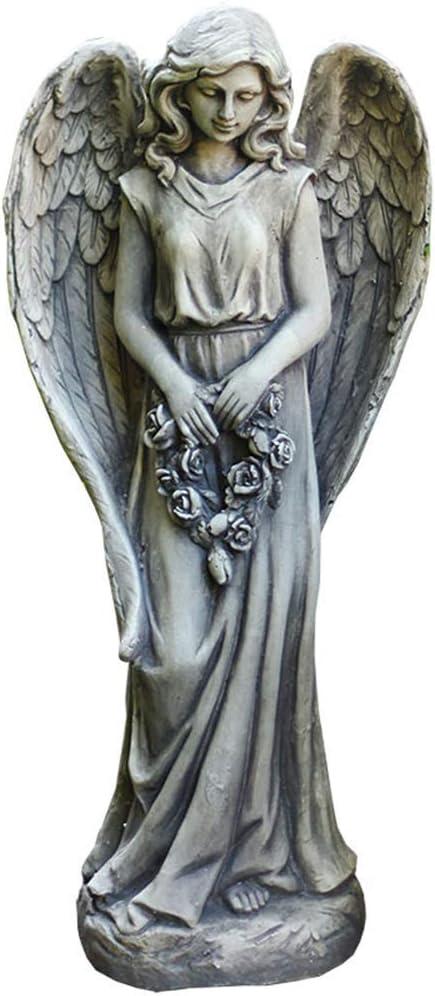 LIUSHI Garden Angel Statue, Angel Sculpture Garden Garden Ornament Garden Decoration Accessories Garden Entrance Decoration 36 30 85Cm