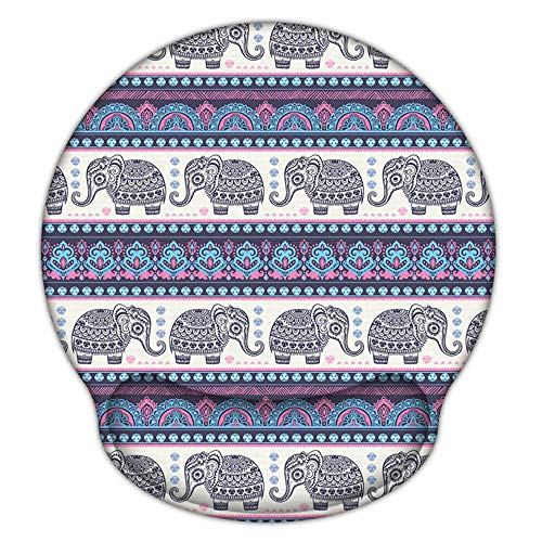 - Ergonomic Mouse Pad with Gel Wrist Rest Support, iLeadon Non-Slip Rubber Base Wrist Rest Pad for Home, Office Easy Typing & Pain Relief, Elephant Mandala