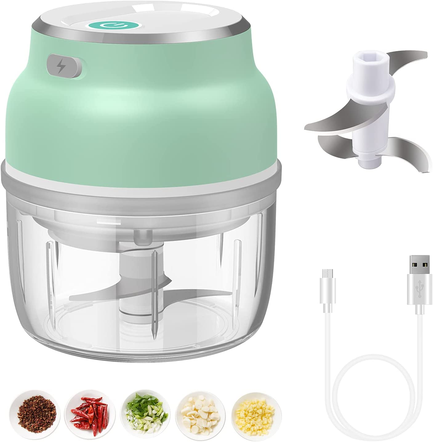 Electric Mini Garlic Chopper,Mini Food Chopper mini food processor 250ml Mini Chopper with Four Blade,Portable and USB Rechargeable Food Processor Mincer for Onions/Nuts/Pepper/Ginger/Salad/Fruits