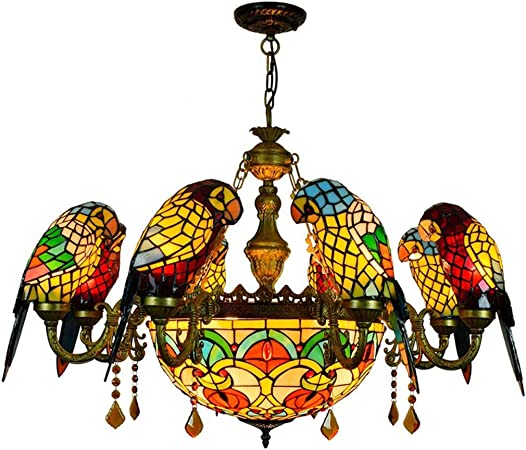 2 Tier Victorian Style Tiffany Stained Glass Chandelier with Mermaid Designed Arms