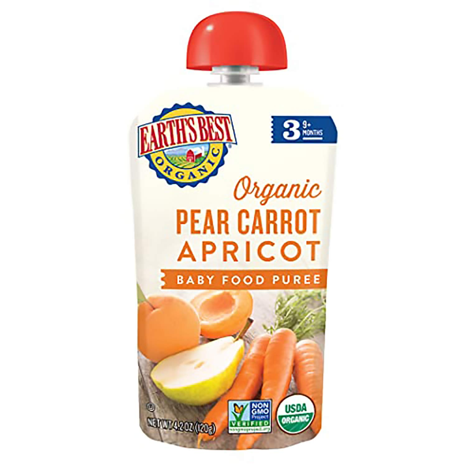 Earth's Best Organic Stage 3 Baby Food, Pear Carrot Apricot, 4.2 Oz (Pack of 12) (Packaging May Vary)