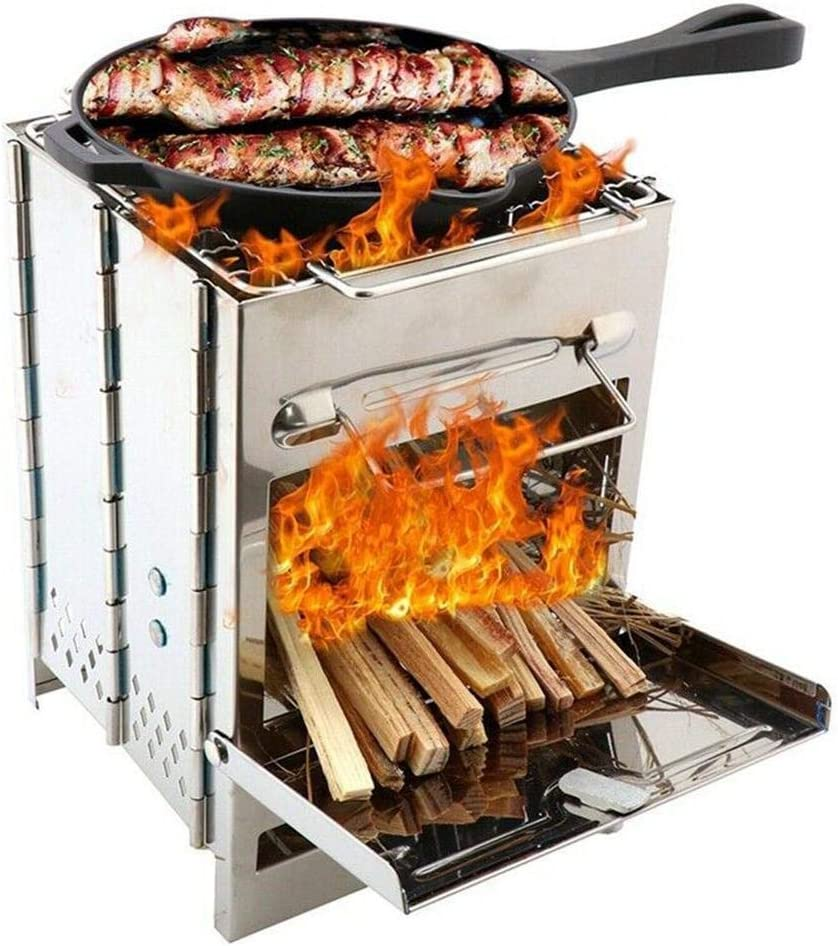 DSDNN Grill Barbacoa portátil Plegable al Aire Libre de leña Estufa de Acero Inoxidable Kebab Barbacoa Parrilla de la Barbacoa con el Bolso