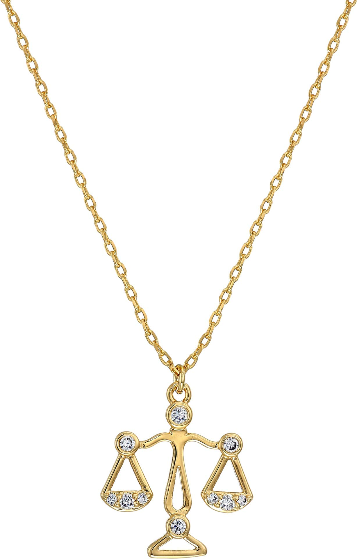 Kate Spade New York Women's Celestial Charm Libra Pendant Necklace Clear/Gold One Size