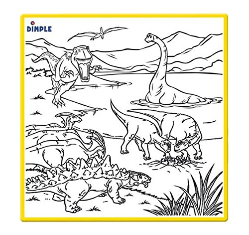 dimple-washable-coloring-play-mat-with-jurassic-dinosaur-era-design-and-12-washable-markers-small
