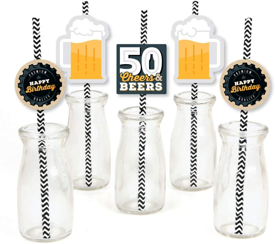 Big Dot of Happiness Cheers and Beers to 50 Years - Paper Straw Decor - 50th Birthday Party Striped Decorative Straws - Set of 24