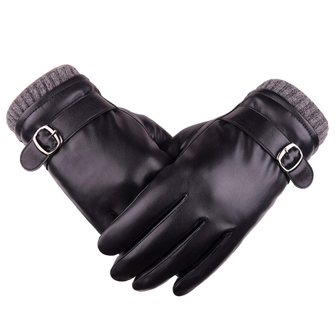 AIEOE Men Gloves Touch Screen PU Leather Gloves Winter Wind Resistant Gloves HA01FIH0003BK