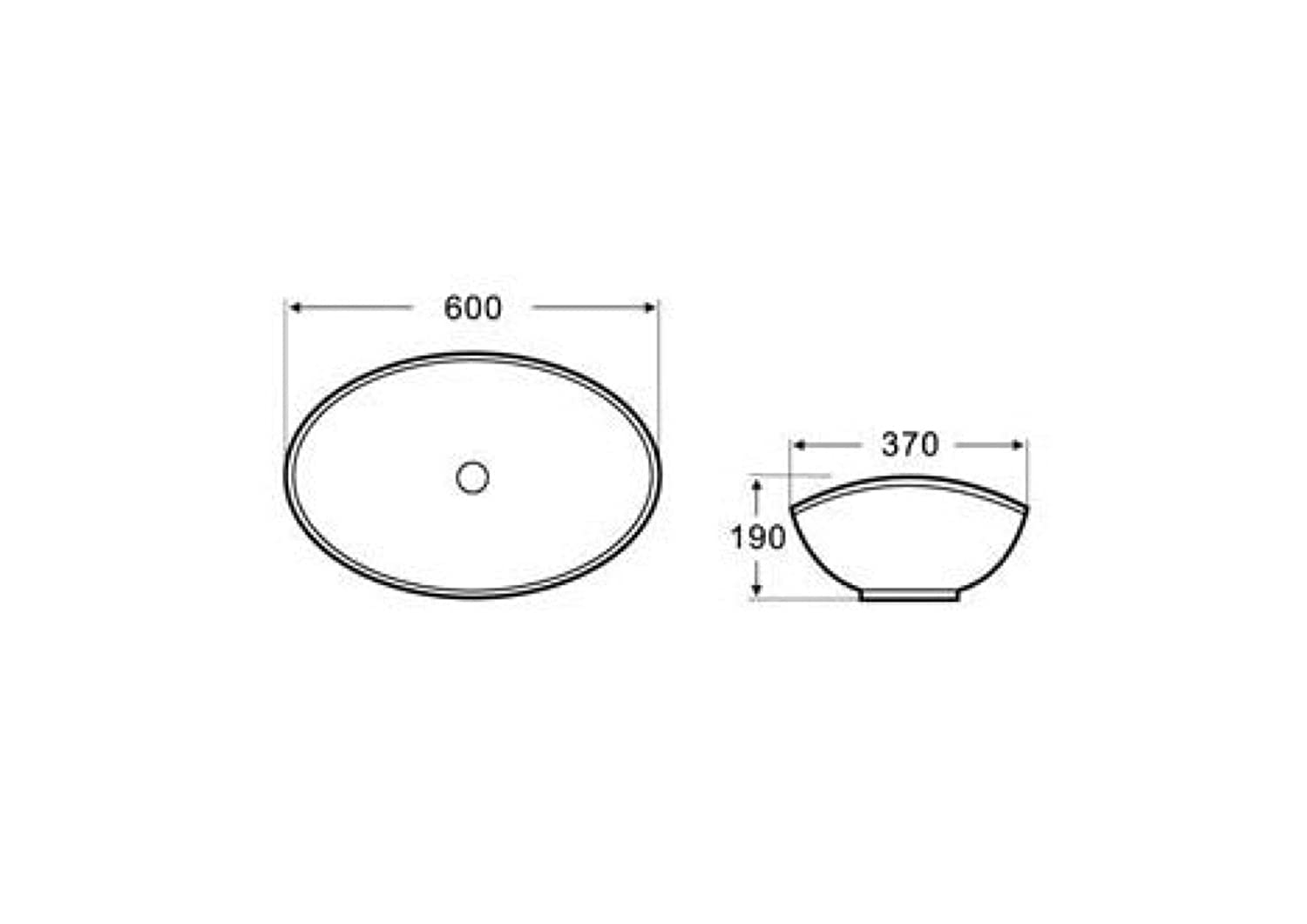 Oval Countertop Sink - 600 x 370mm Cassellie
