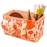 Tenworld Women Girl Fashion Makeup Cosmetic Storage Box Bag Bright Organiser Foldable Stationary Container (Orange)