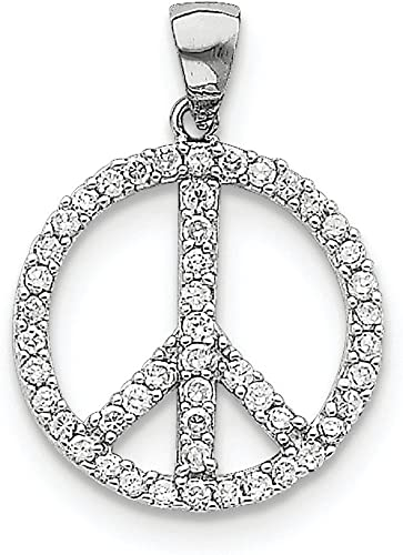 Sterling Silver Rhodium Plated Synthetic CZ Peace Pendant