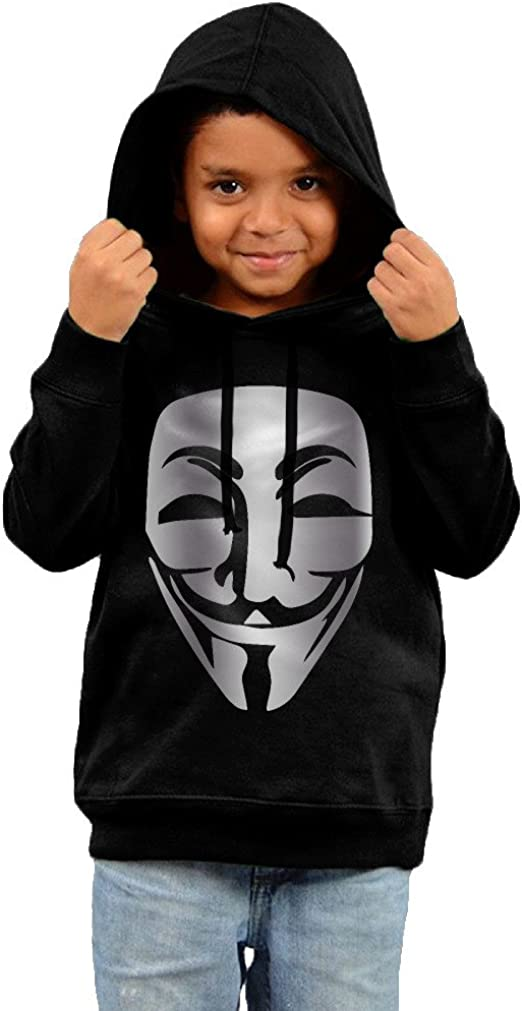 Little Boys Girls Anonymous Mask Platinum Style Hoodie Black