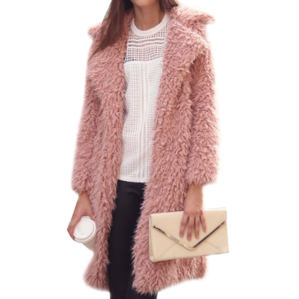 Gloria JR Womens Fuzzy Faux Lamb Fur Coat Long Jacket Notched Lapel Mid Long Coat (XL-Large, Pink)