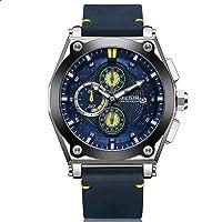Megir ML2098GS-BKBE-2 Leather Round Analog Watch for Men - Navy