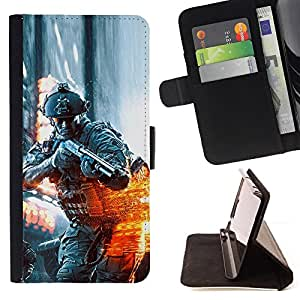 KingStore / Leather Etui en cuir / Sony Xperia Z3 Compact / BATTLEFILD SOLDADO