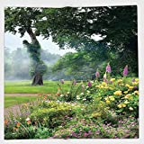 Cotton Microfiber Hand Towel,Country Decor,Vibrant Colored Flowers Trees in an English Park Morning Haze Foggy Sunrise,for Kids, Teens, and Adults,One Side Printing