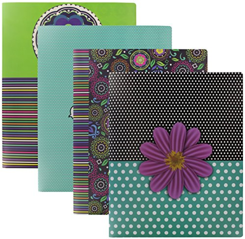 Plus Poly Portfolios (Emraw Laminated Fashion Sass & Class 2 Pocket Poly File Portfolio Folder – Used for Papers, Loose-Leafs, Business Cards, Compact Discs, Etc. (4-Pack))