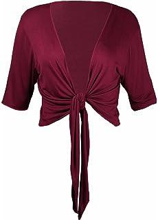 f556377235efeb Purple Hanger Damen dreiviertel länge Ärmel einfarbig gebunden Schulterjacke  Damen Stretch Fit bauchfreie Strickjacke Bolero Top