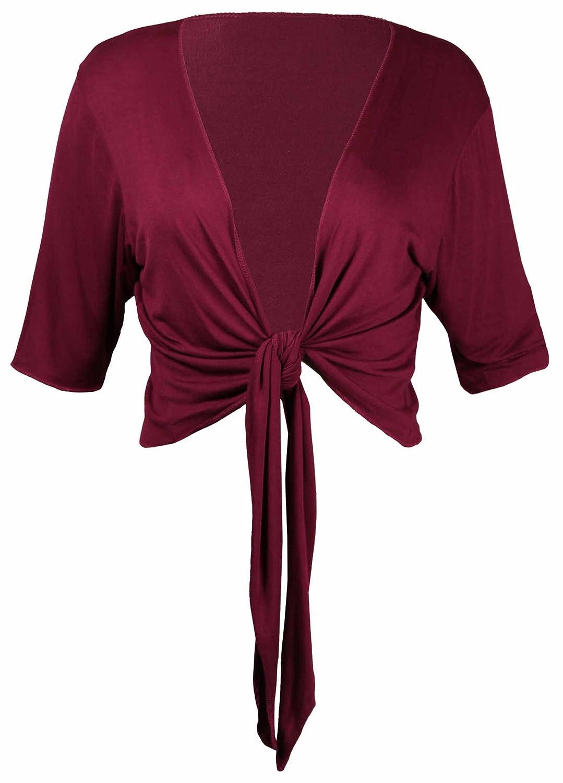 Purple Hanger PurpleHanger Women's Plus Size Tie Up Shrug Cropped Bolero Top