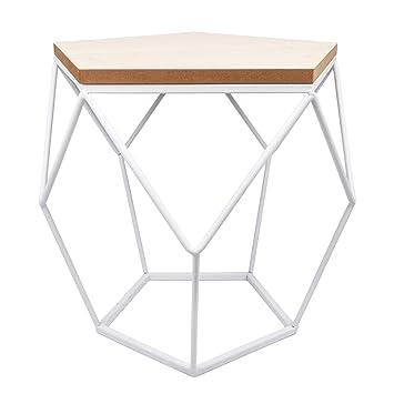 Beistelltisch Diana Skandinvasches Geometrie Design Weiss Tisch Drahtkorb