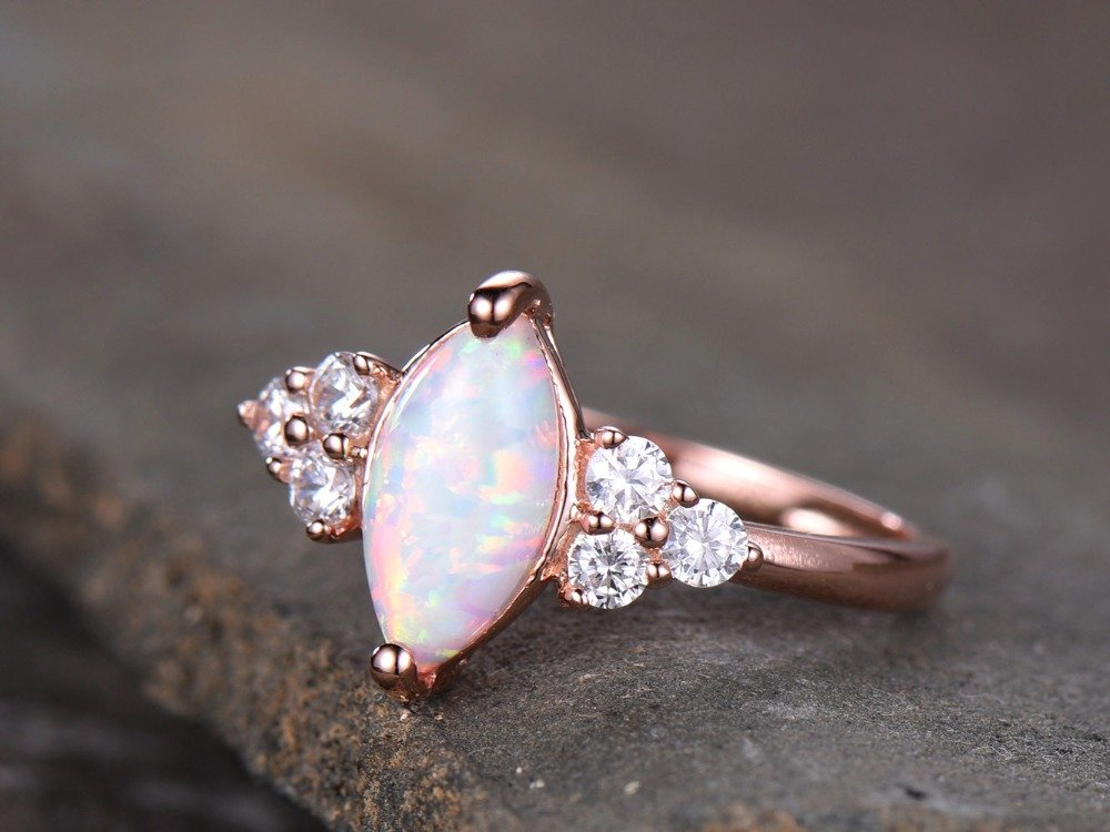 Opal Engagement Ring 925 Sterling Silver Rose Gold Plated CZ Cluster Antique Anniversary Gift Promise by Milejewel Opal Engagement Ring (Image #2)