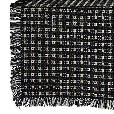 62 x 90 (Rectangle) Homespun Tablecloth, Hand Loomed, 100% Cotton, Black/Stone