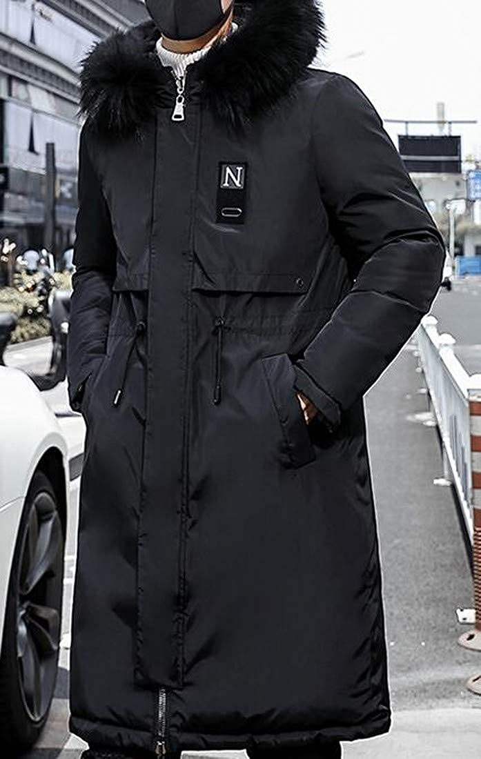 Fubotevic Men Double-Sided Wear Thermal Faux Fur Hoodie Plus Size Long Down Jacket Parka Coat Outwear